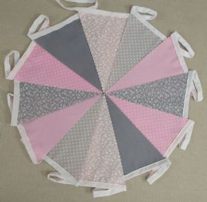 BUNTING Dark Grey & Pink in Plain, Floral & Spot - 3m, 5m or 10m